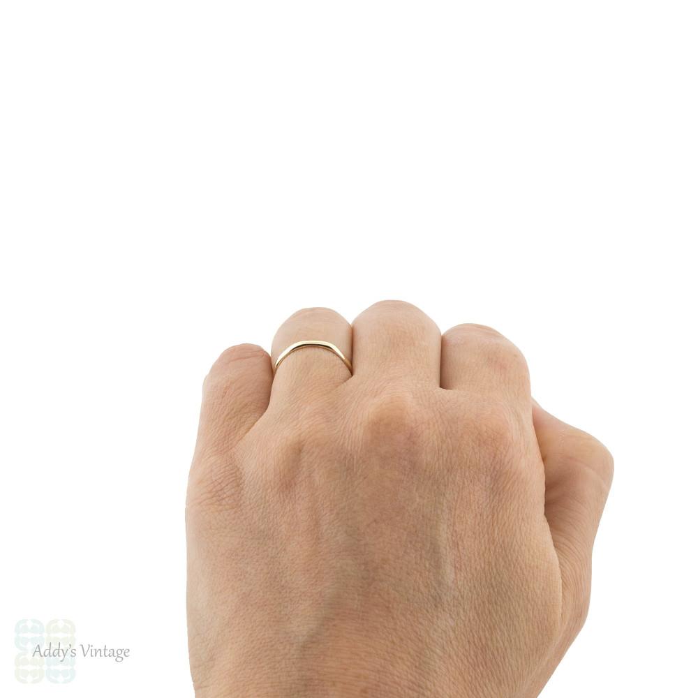Faceted Vintage 9ct Gold & Platinum Wedding Ring, Slender Ladies Band Size K.5 / 5.75.