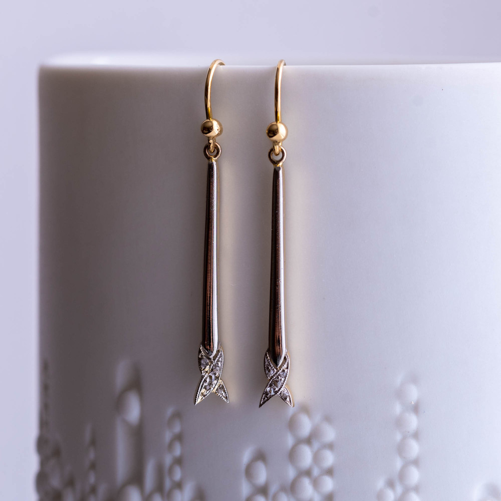 Rose Cut Diamond Drop Earrings, Antique 18ct Gold & Platinum Long X Dangle Earrings.