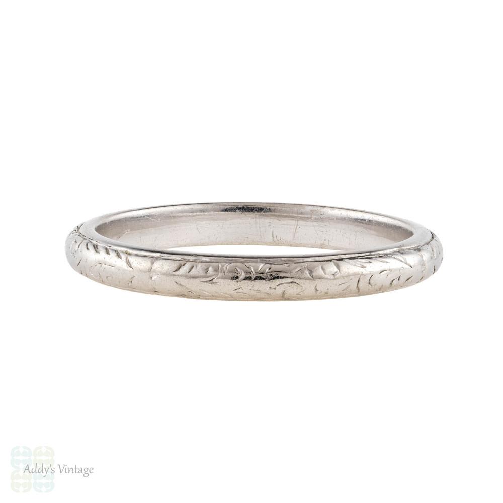 Antique Engraved Platinum Wedding Ring, Foliate Pattern Narrow Ladies Band, Size I / 4.5.
