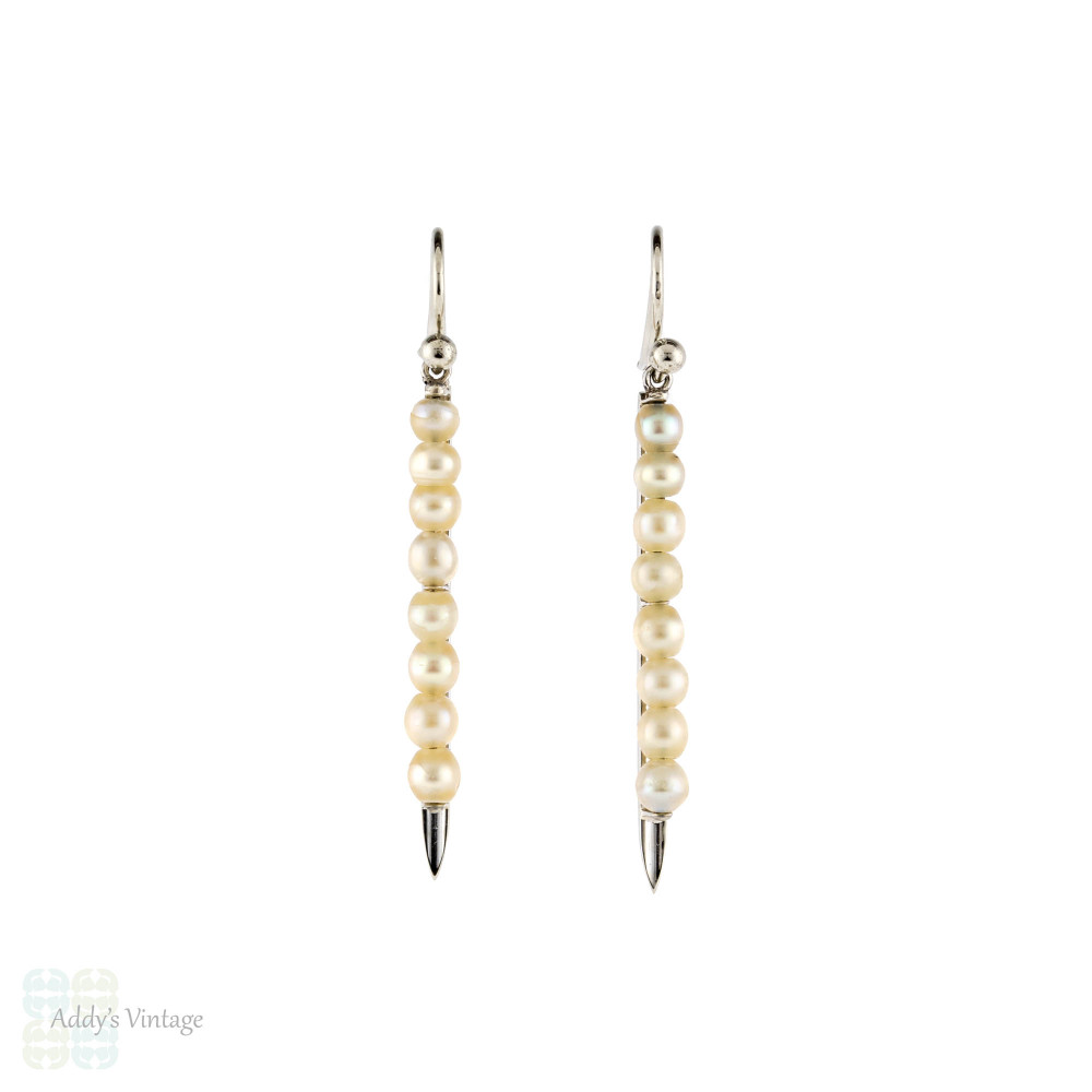 Art Deco Cultured Pearl Drop Earrings, 9ct 9k White Gold Dangle Earrings