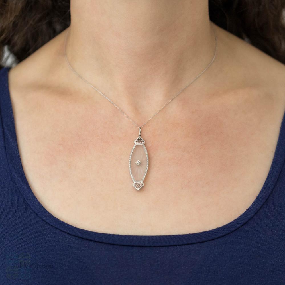 Art Deco Rock Crystal & Diamond Pendant, 14ct 14k White Gold Filigree Converted Necklace
