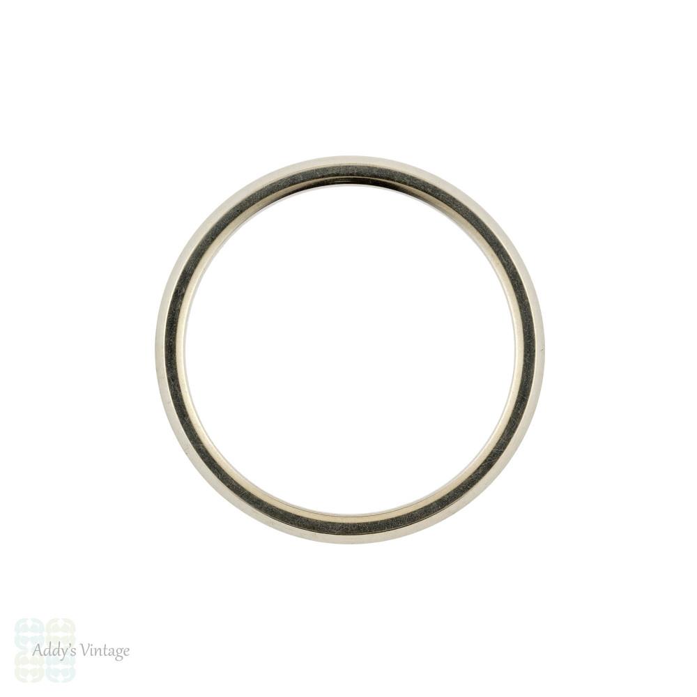 Vintage 18k 18ct White Gold Knife Edge Wedding Ring by Jabel. Size J.5 / 5.