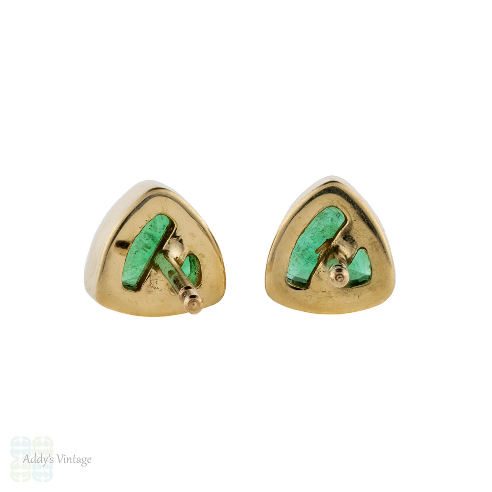 Emerald Stud Earrings, 9ct 9k Yellow Gold Bezel Set Triangle Birthstone Studs.