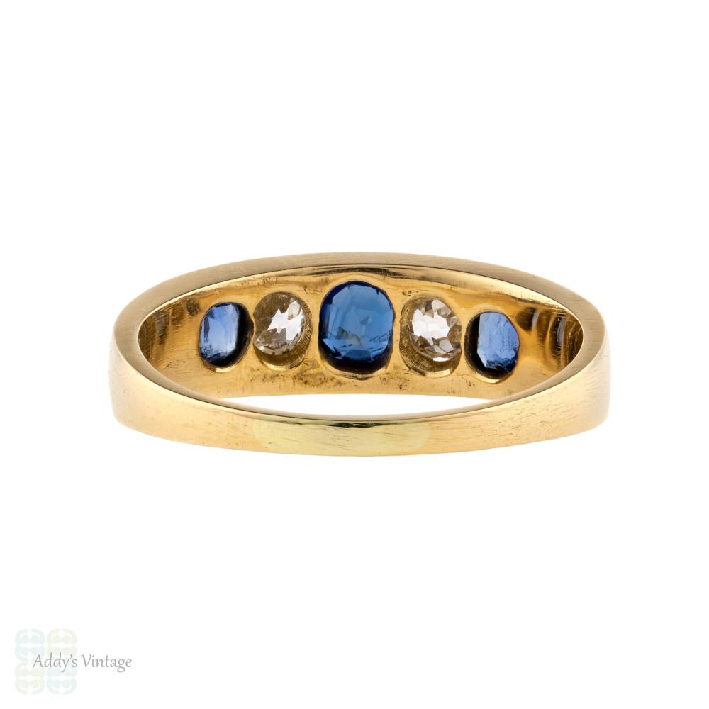 Sapphire & Diamond Five Stone Ring, Antique 18ct 18k Gold Old Cut Gemstone Band.