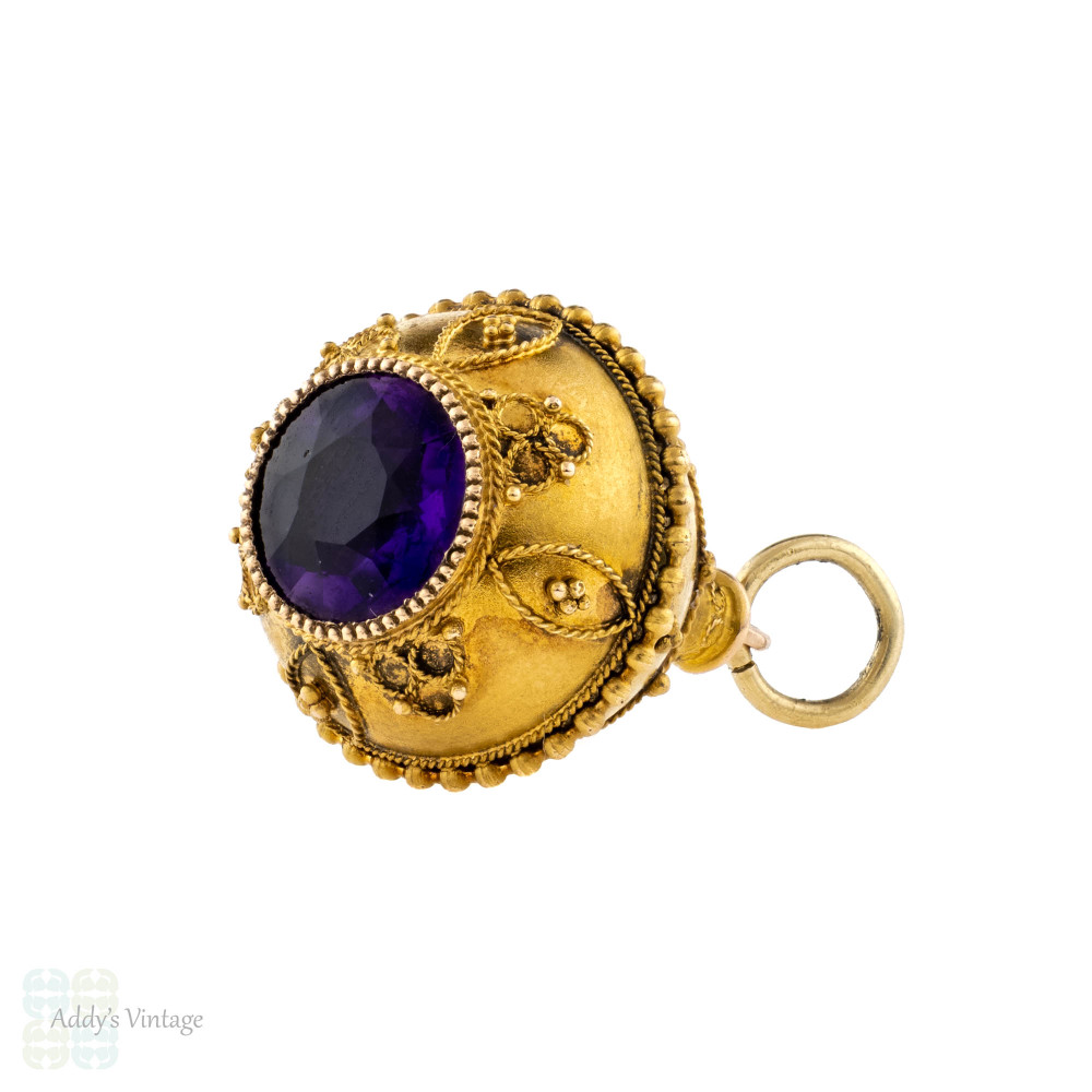 Amethyst Cannetille 15ct Drop Bauble Pendant, Victorian Teardrop Shape Watch Fob.