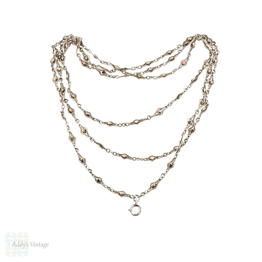 Antique French Silver Filigree Fancy Link Chain with Rose Gold Accents, 140 cm / 55 inches.