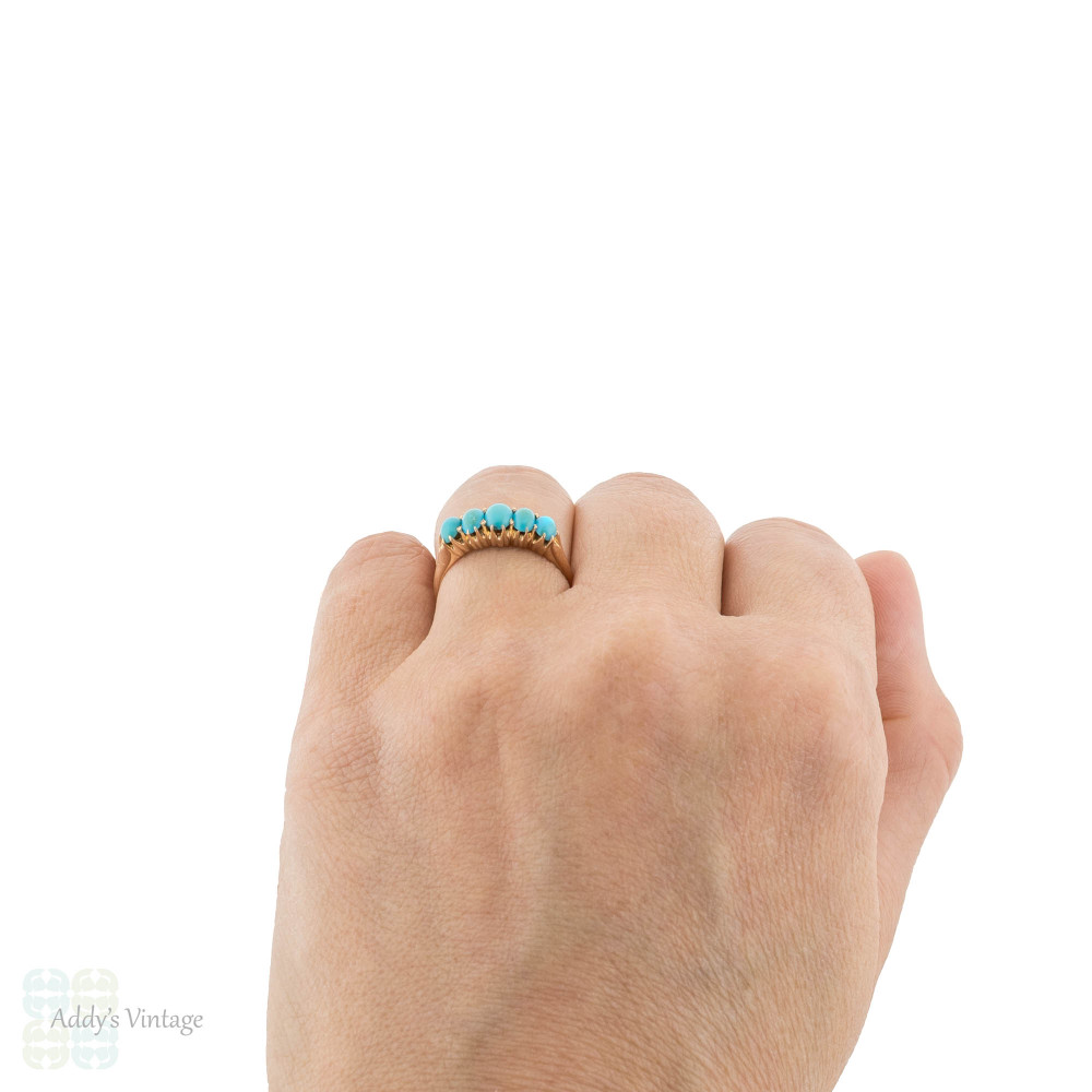 RESERVED Turquoise Five Stone Ring, Victorian Antique Graduated Cabochon 18ct 18k Rose Gold Band.