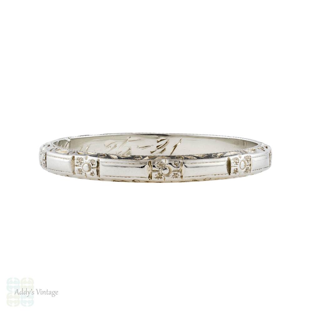 Art Deco 18k Engraved Wedding Ring, Vintage 18ct Flower Engraving Band Size M / 6.25.