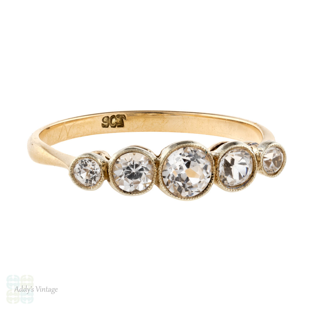 White Sapphire Bezel Set Five Stone Ring, 9ct Gold Vintage Lab Created Sapphire Band.
