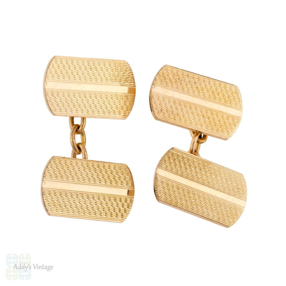 Vintage 10k Gold Front Cuff Link, Engraved Engine Turned Mid 20th Century Cufflinks.
