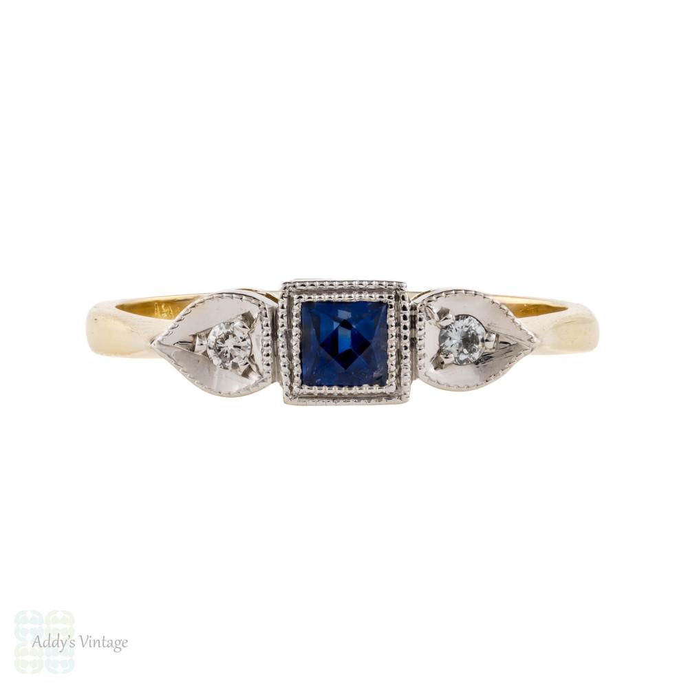 French Cut Sapphire & Diamond Three Stone Vintage Engagement Ring, 18ct 18k.