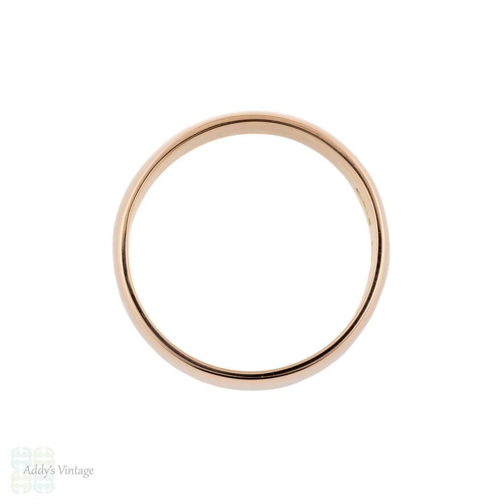 Wide Edwardian 9ct Rose Gold Ladies Wedding Ring, 1900s Antique 9k Band. Size M / 6.25.