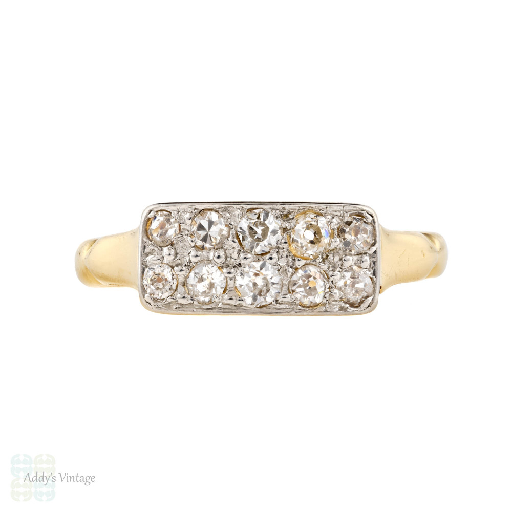 Old Mine Cut Diamond Double Row Ring, Victorian Chunky Antique 18ct Plat Band.