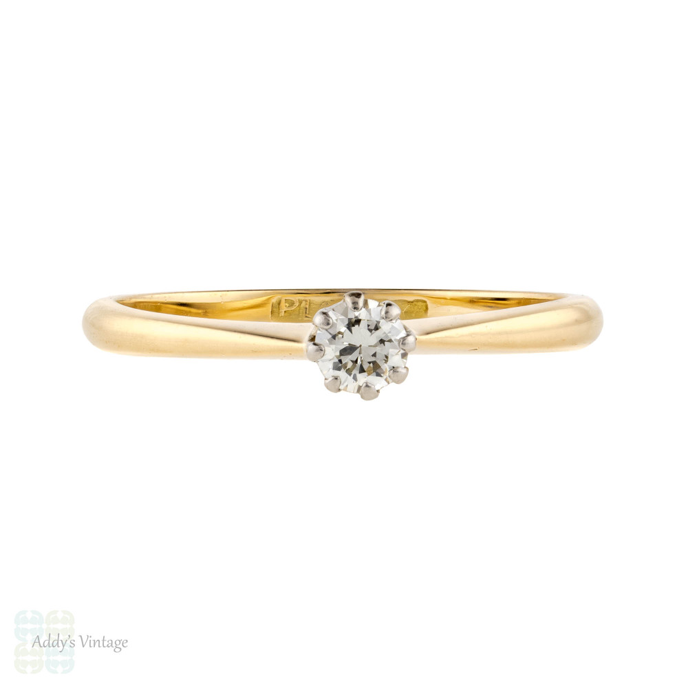Old European Cut Diamond Engagement Ring, 18ct PLAT Classic Single Stone Circa 1930s.