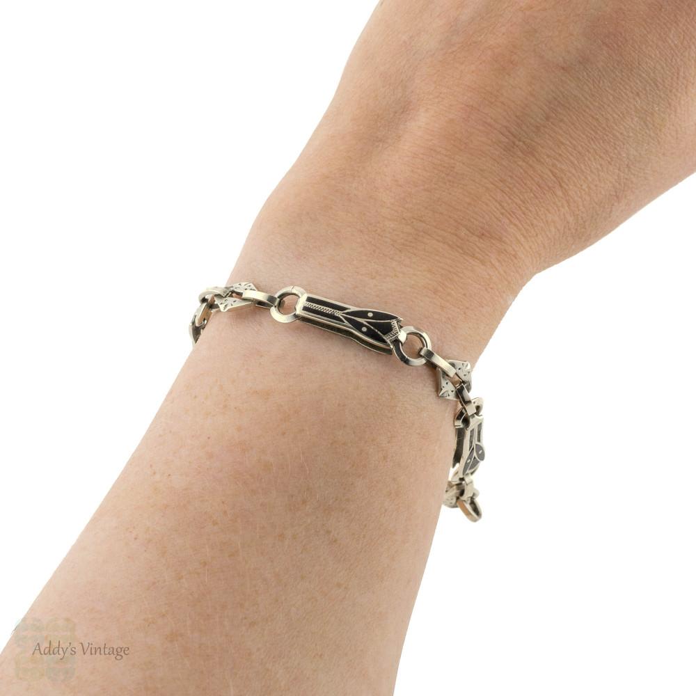 Niello Antique Bracelet, Converted Watch Chain Black Enamel Tulip Links.