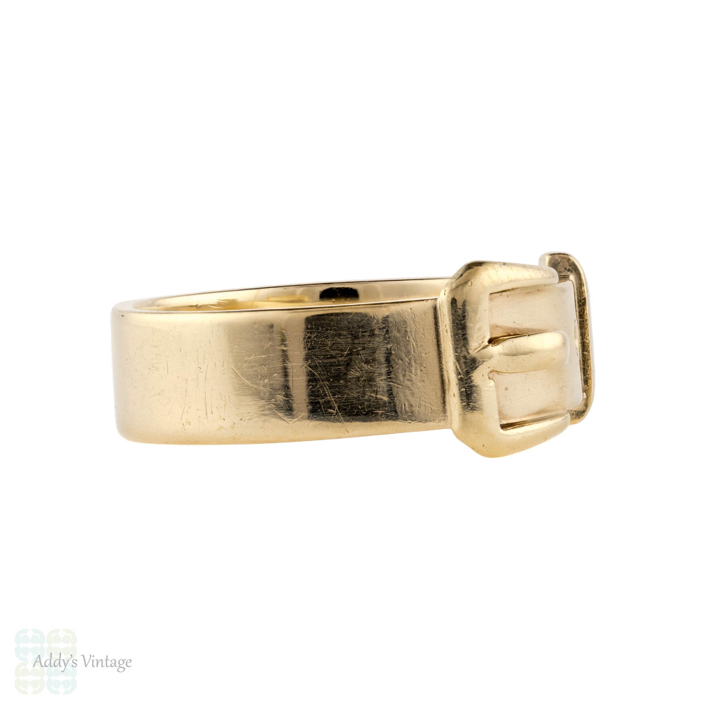 Vintage 9ct Yellow Gold Buckle Ring, Wide 1960s 9k English Hallmarked Band.