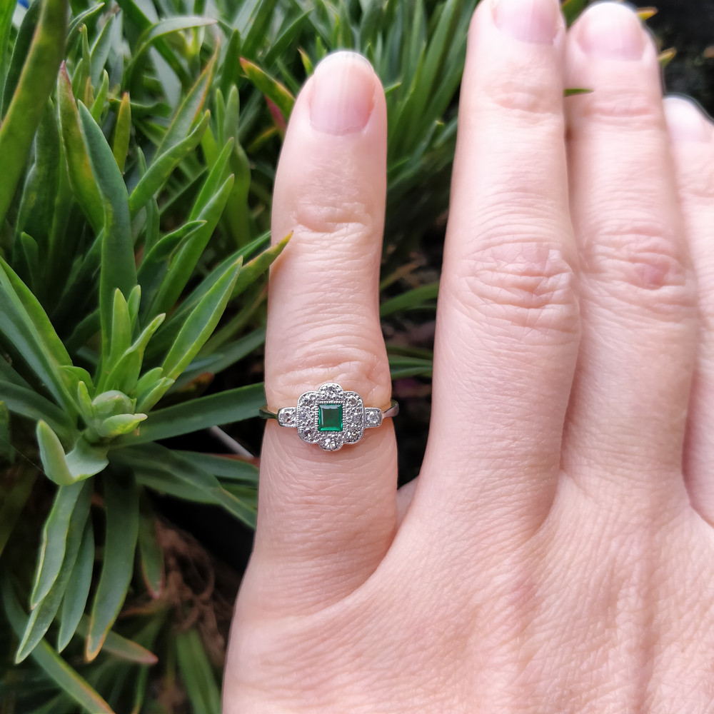 RESERVED Emerald & Diamond Art Deco Engagement Ring, Antique 1920s 18ct PLAT Ring.