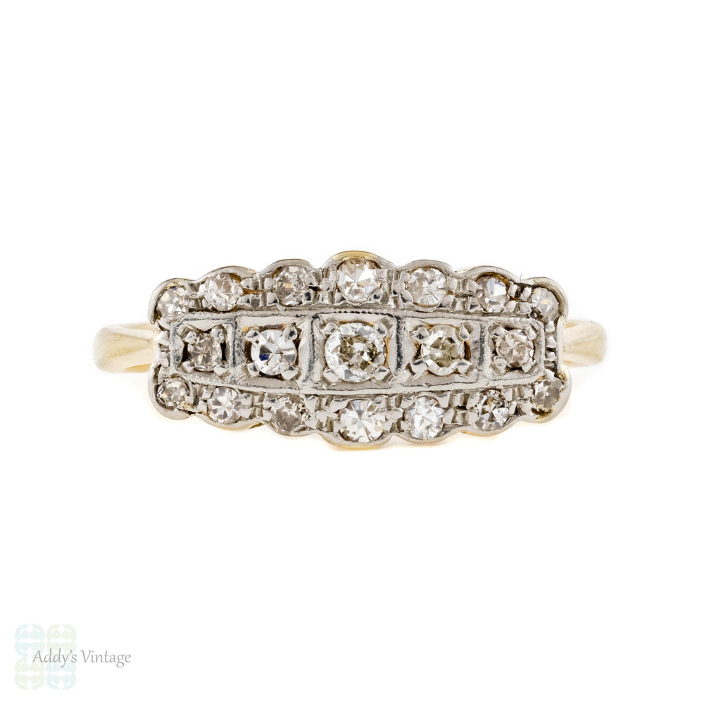 Art Deco Diamond Engagement Ring, Vintage Cloud Shape Cluster 18ct & PLAT.