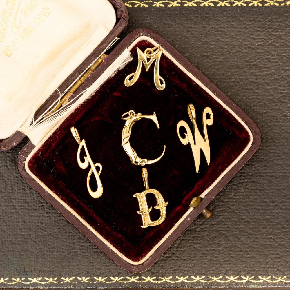 9ct Initial Pendant, Vintage 9k Yellow Gold Letter Charms: C D J M W