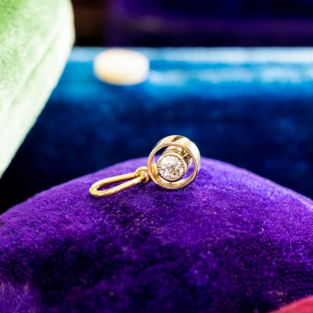 Bezel Set Old European Cut Diamond Pendant, 9ct & Platinum Two Tone Target Style Charm.