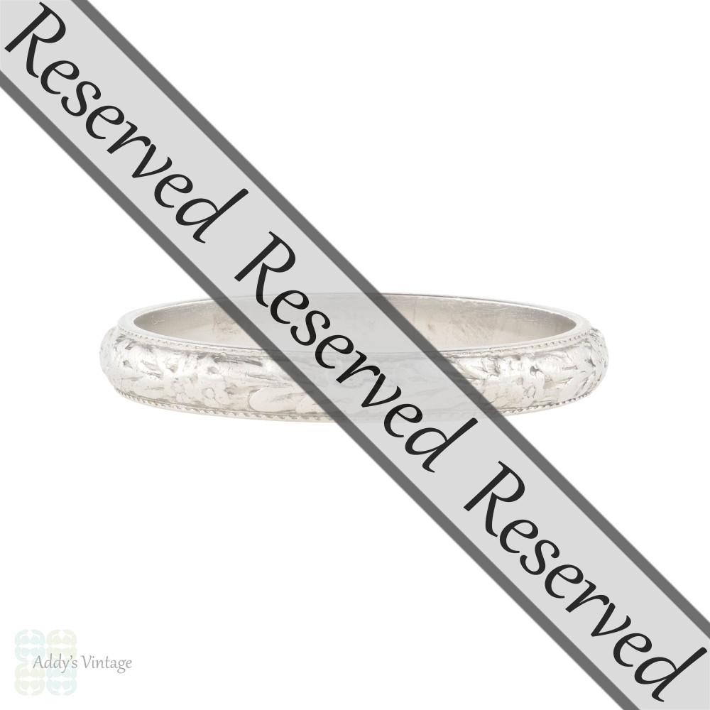 RESERVED Flower Engraved Platinum Wedding Ring, Vintage Art Deco Flower Band Size L / 5.75.