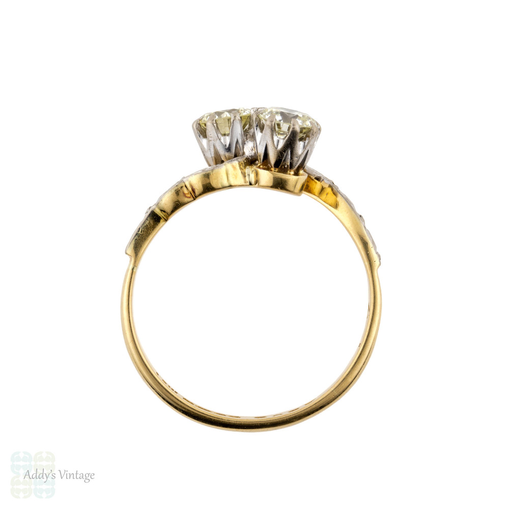Toi et Moi Diamond Engagement Ring, Vintage 18ct Gold Stylish Mid Century Bypass Design Ring, 0.62 ctw.