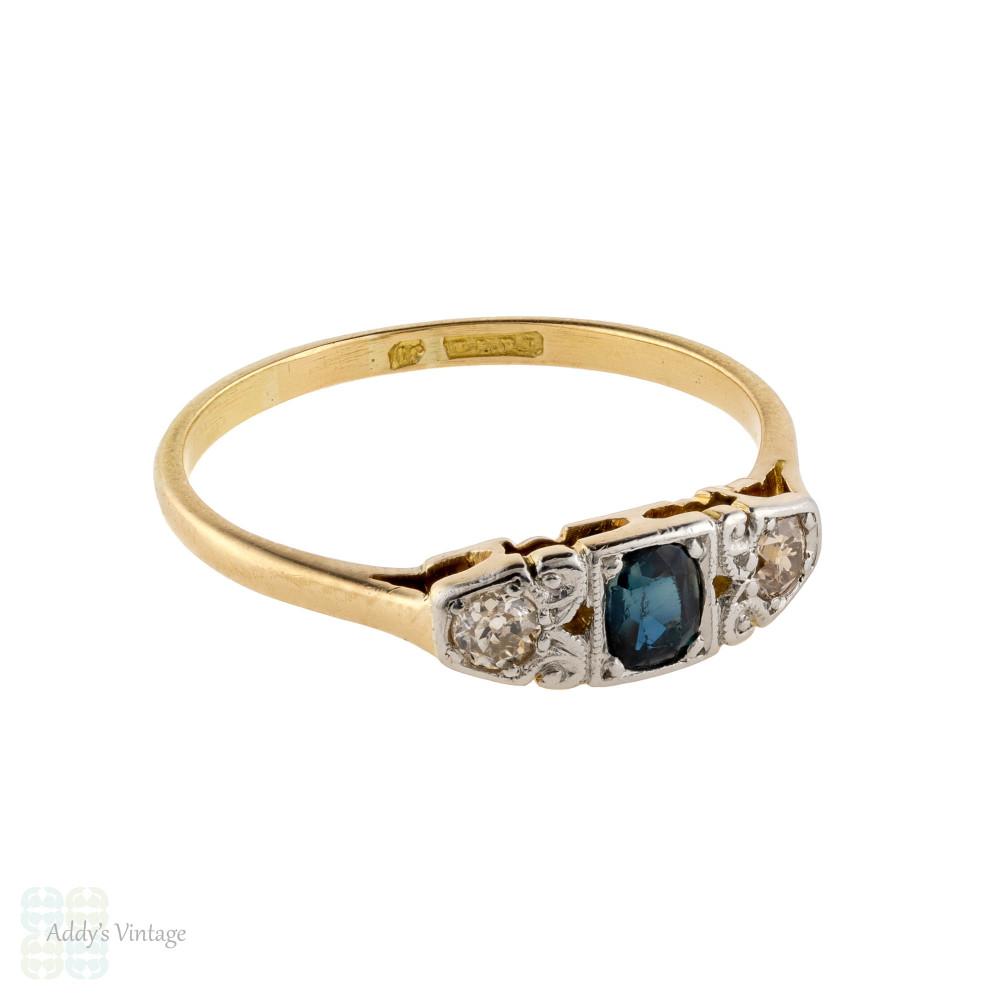 Sapphire & Old Cut Diamond Engagement Ring, Antique Three Stone 18ct 18k Ring.
