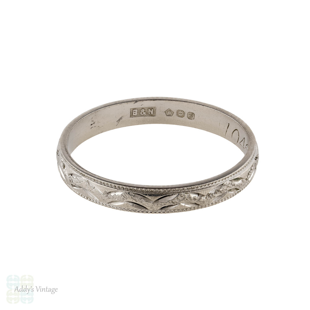 Engraved Platinum Ladies Wedding Ring, Slender Vintage Womens Band Size O / 7.25.