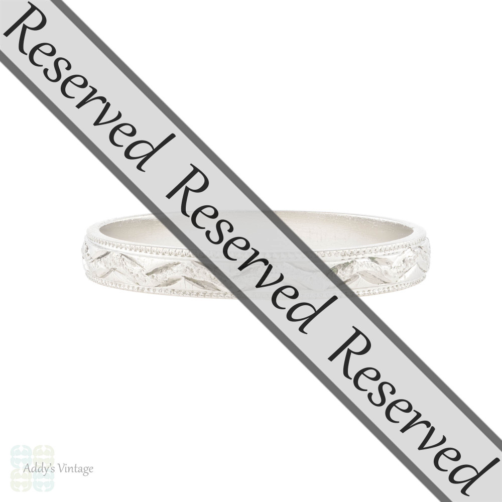 RESERVED Engraved Platinum Ladies Wedding Ring, Slender Vintage Womens Band Size O / 7.25.