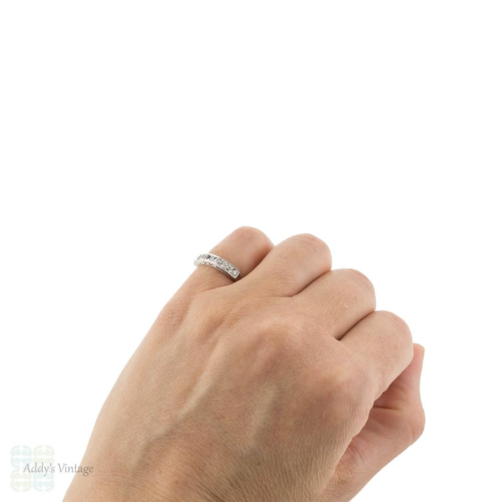 Diamond Half Hoop Wedding Ring, Vintage 7 Stone Engraved 18ct 18k Gold Band. Size J.5 / 5.