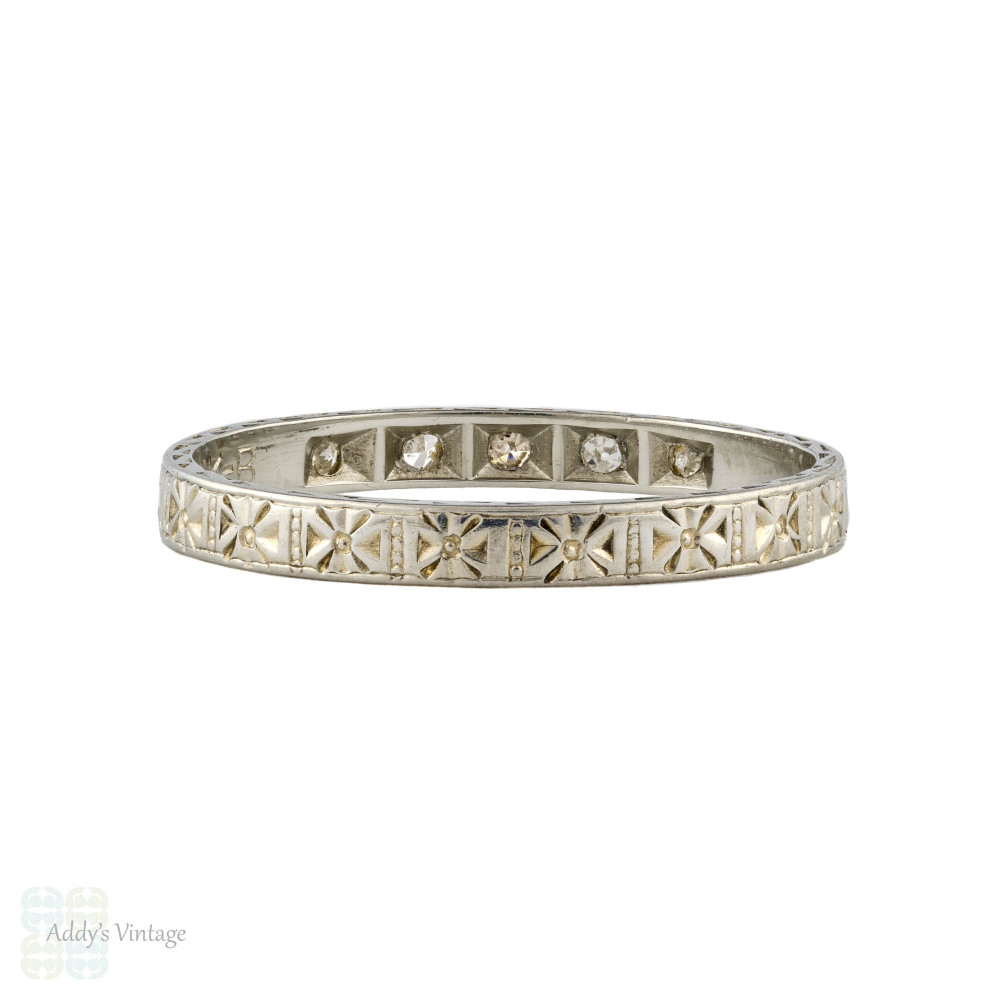 Art Deco Diamond & Engraved Wedding Ring, 18ct 18k White Gold Flower Band Size L.5 / 6.