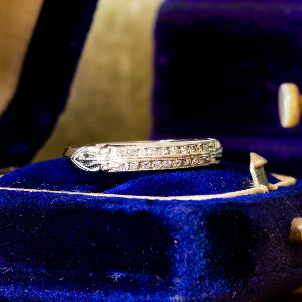 Double Row Diamond Wedding Ring, Art Deco Platinum Half Hoop Channel Set Band.