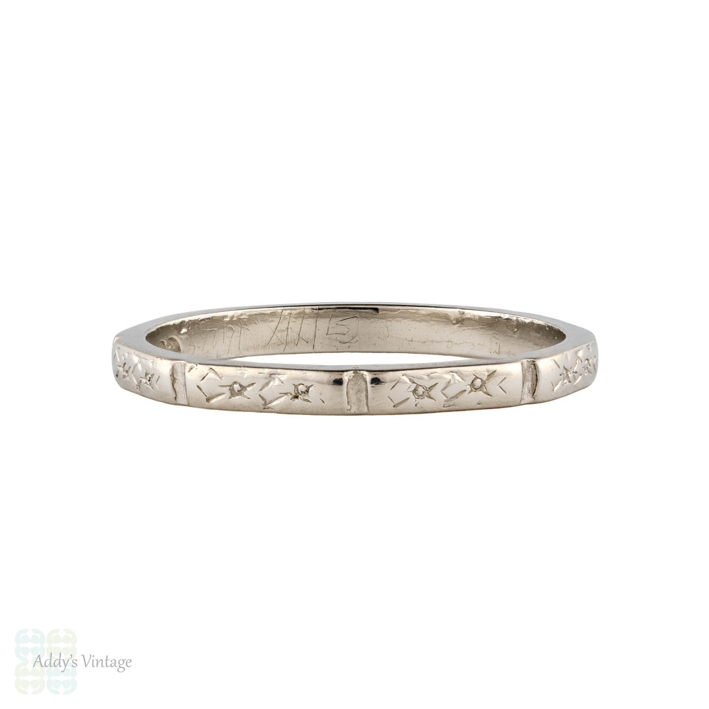 Engraved Flower Platinum Wedding Ring, Vintage Narrow Ladies Faceted Band Size M / 6.25.