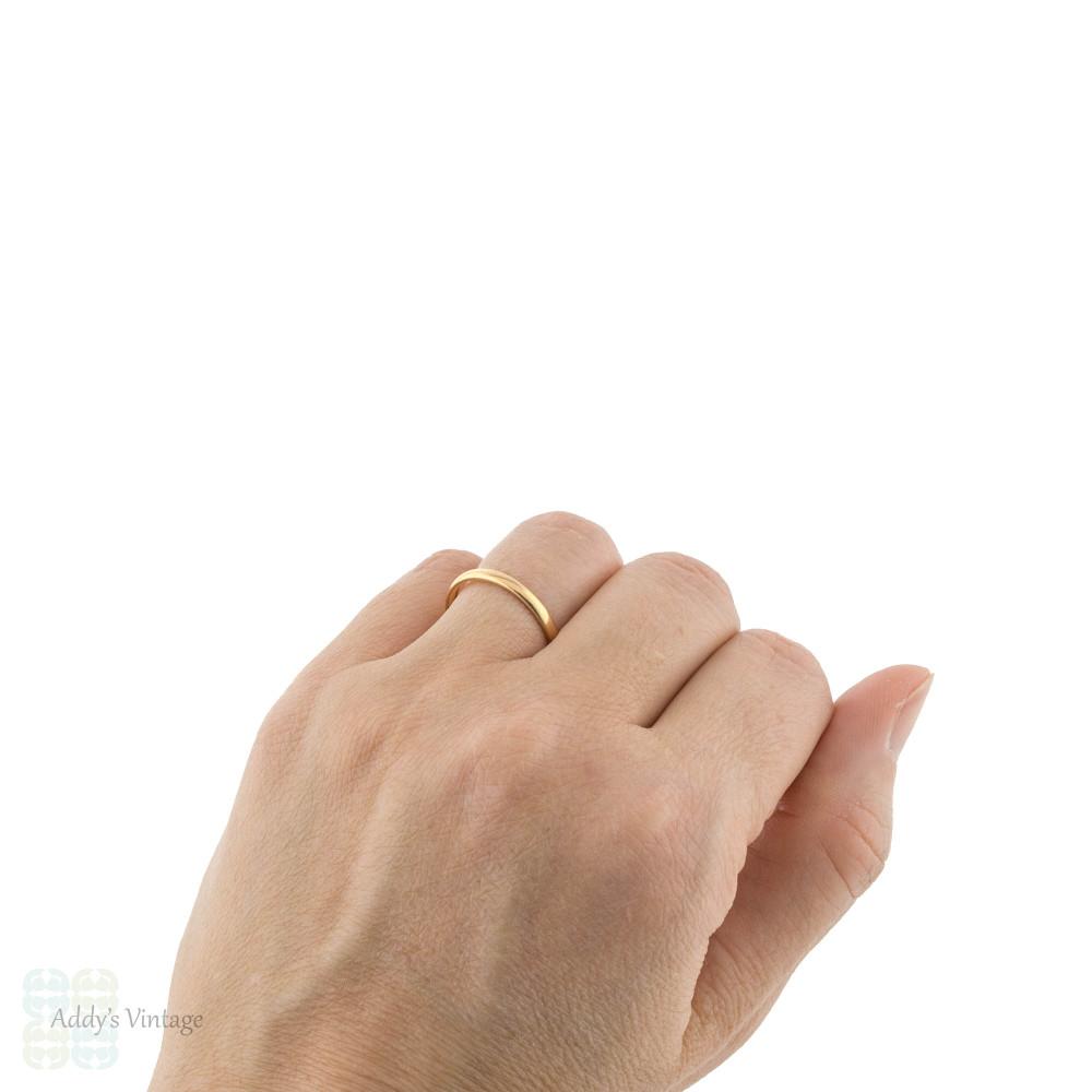 1930s Skinny 22ct Gold Wedding Ring, Ladies 22k Vintage Band Size Q / 8.25.