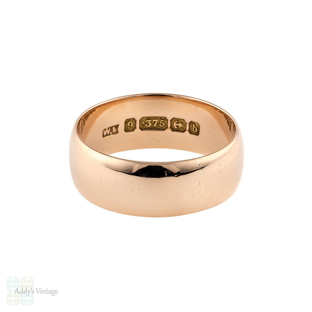 Antique 9ct Rose Gold Men's Wedding Ring, Classic 9k Edwardian Band. Size R.5 / 9.