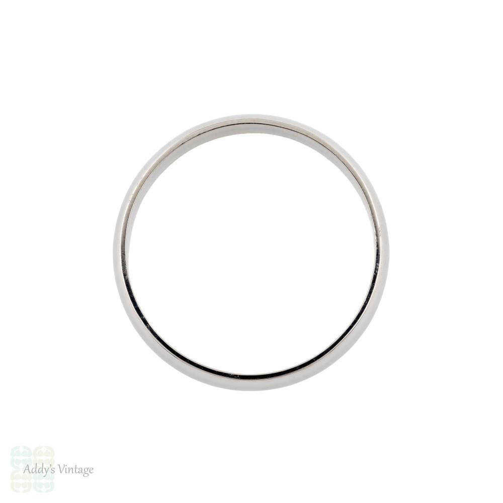 Platinum Men's Wedding Ring, Medium Width D Shape Profile Estate Band Size U.5 / 10.25.