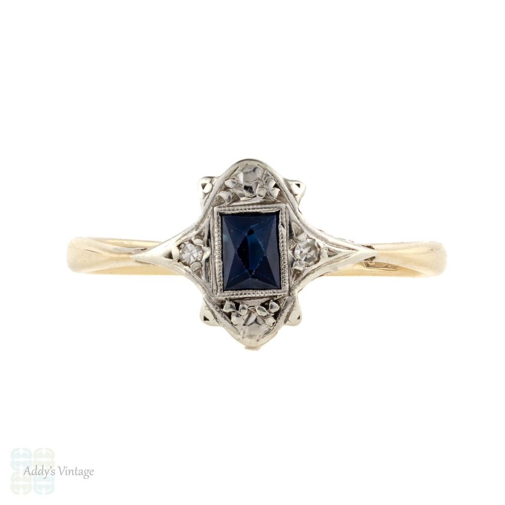 French Cut Sapphire & Diamond Art Deco Engagement Ring, 9ct 9k Platinum Vintage Ring.