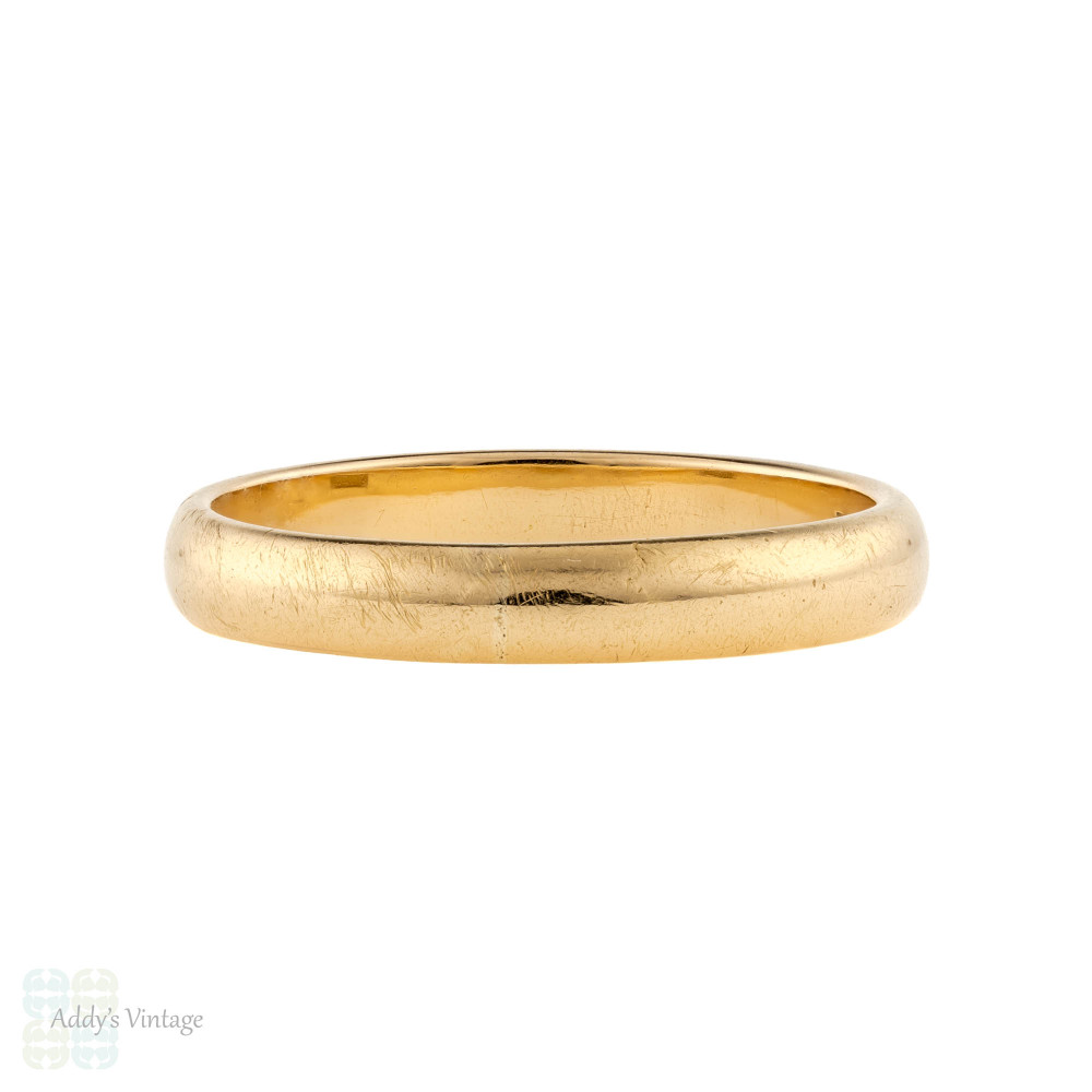 Antique 18ct Ladies Wedding Ring, Victorian 18k Classic Band Size O.75 / 7.5.