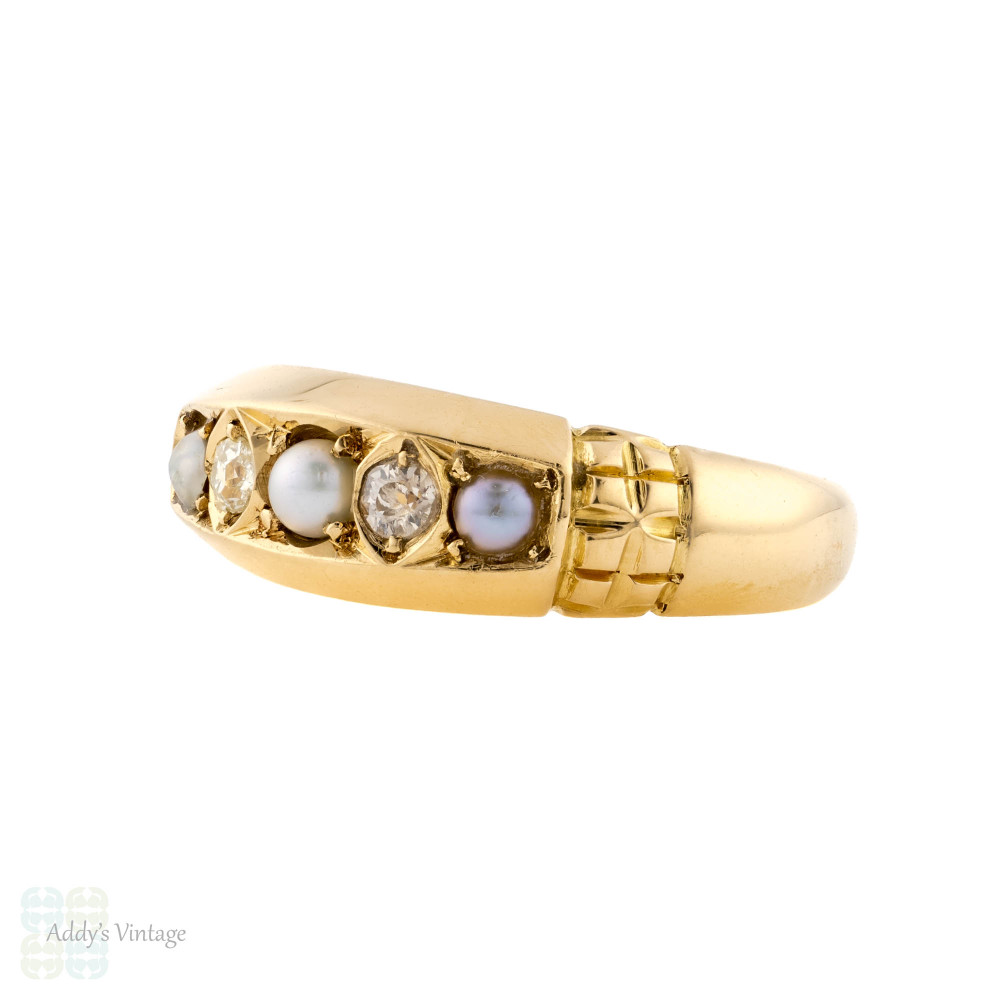 Split Pearl & Old Mine Cut Diamond Five Stone Band, 18ct 18k Gold Antique Ring.