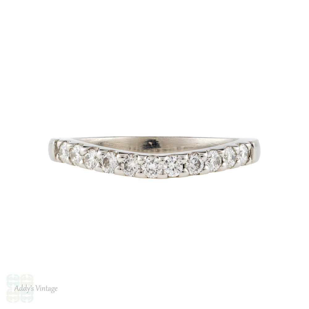 Curved Platinum Diamond Ladies Wedding Ring, Shaped Fitted Band for Wedding Set Size I.25 / 4.5.