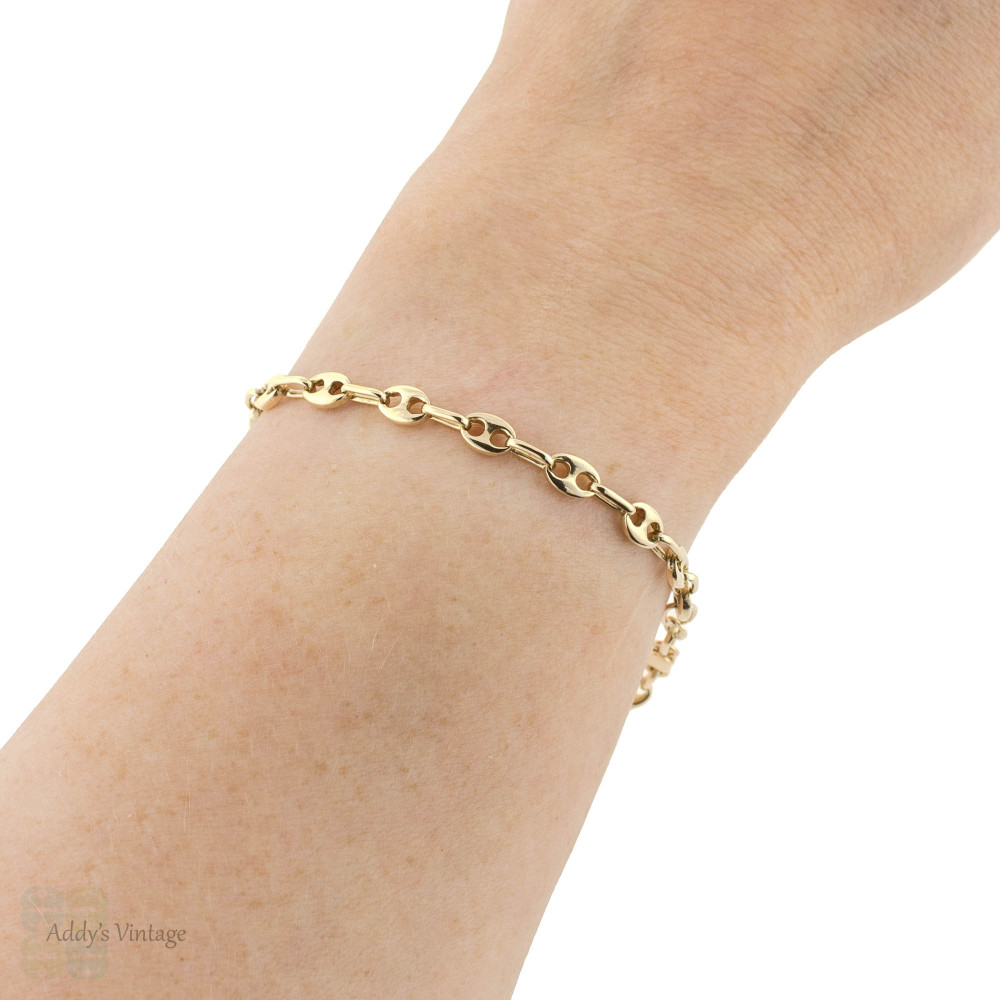 Anchor Link 14k Bracelet, Estate 14ct Yellow Gold Mariner Sailor Link 19.5 cm / 7.66 inch Chain.