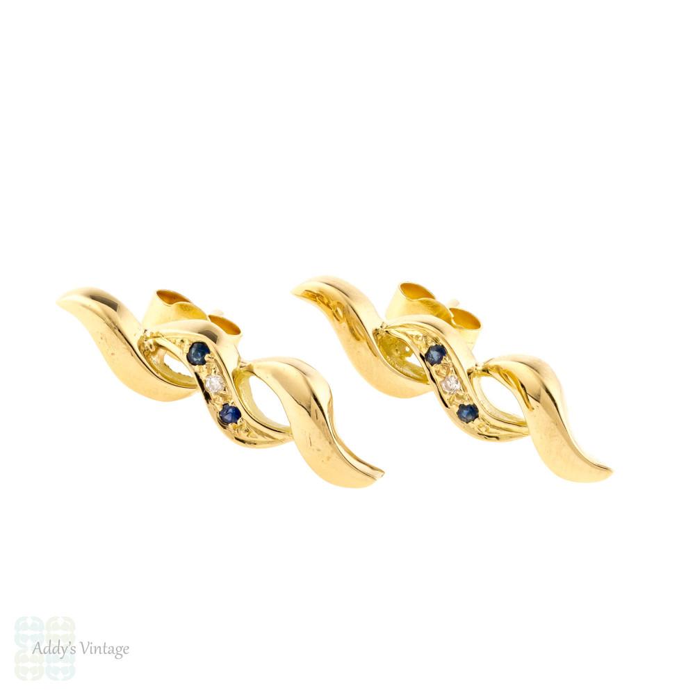 Sapphire & Diamond Vintage Swirl Earrings, 18ct 18k Yellow Gold 1970s Studs.