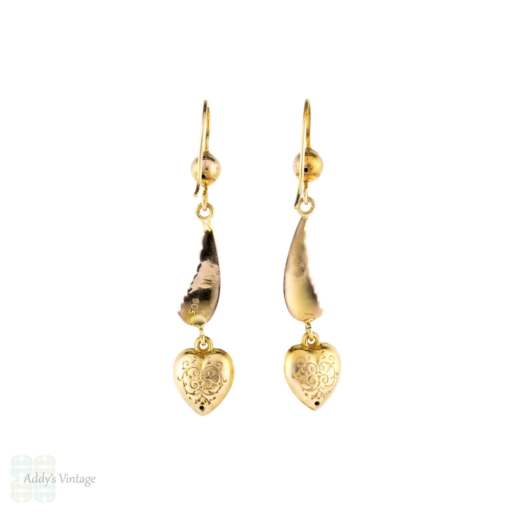 Wing & Heart 9ct Dangle Earrings, Vintage Seed Pearl Set Engraved Puffed 9k Gold Drops.