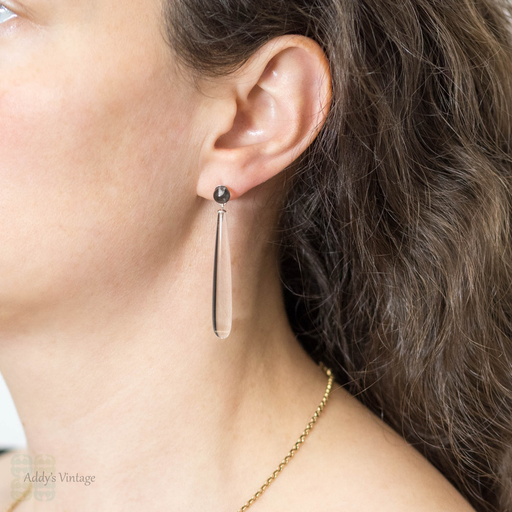 Rock Crystal Art Deco Drop Earrings, Long Sterling Silver Dangles. Circa 1920s.