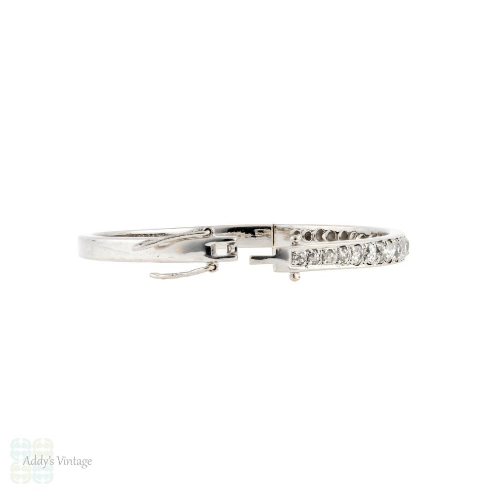 Old Mine Cut Diamond Bangle, 2 ctw Antique Diamond Bracelet 14k 14ct White Gold.