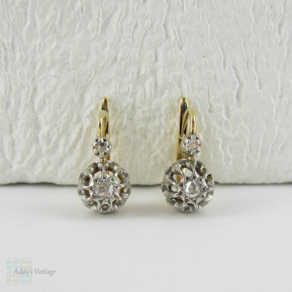 bedc579b916371 Antique French Diamond Drop Earrings. Rose Cut Diamonds in Platinum Topped  Crown Settings with 18 Carat Gold Lever Backs. - Addy's Vintage