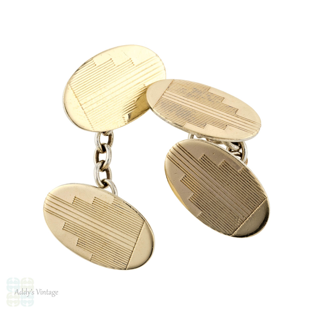 Vintage Two Tone Cuff Links, 9ct 9k Yellow Gold on Silver Engine Turned Design.