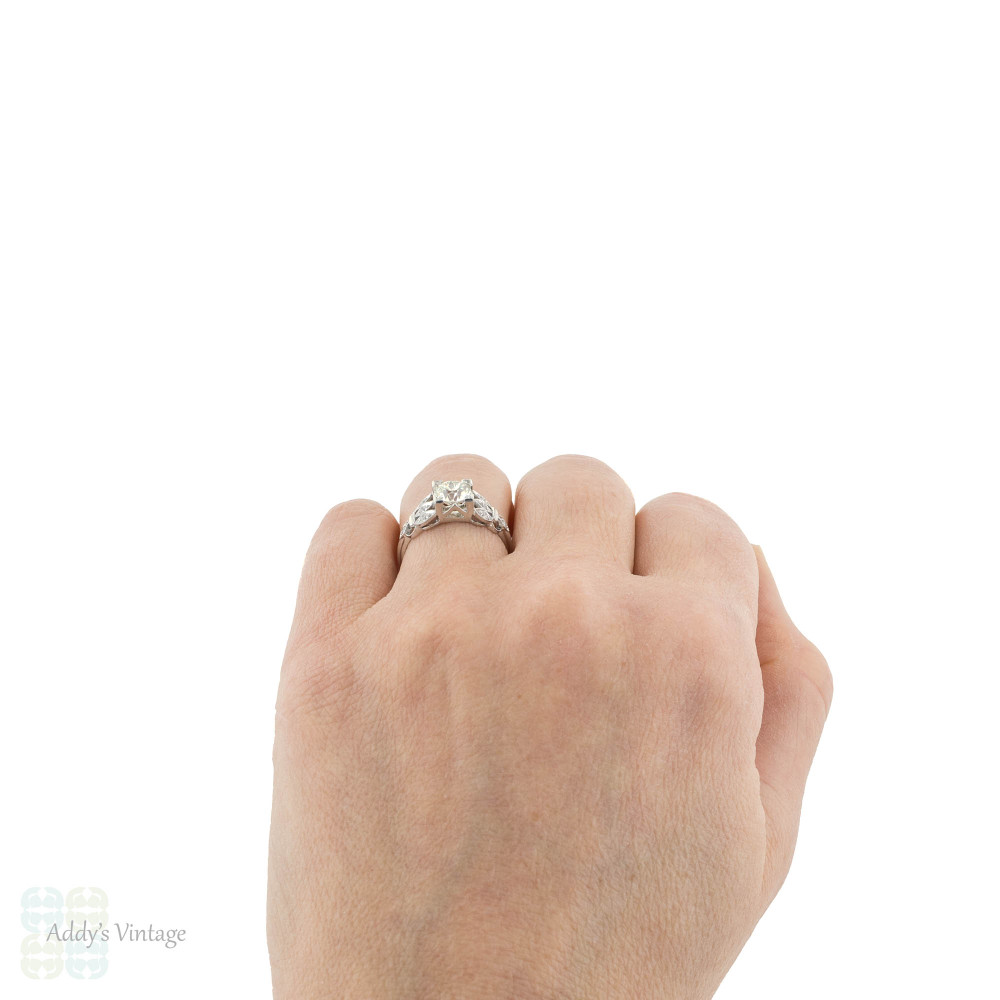 Old European Cut Diamond Engagement Ring, 1.19ctw Platinum 1930s Floral Design.