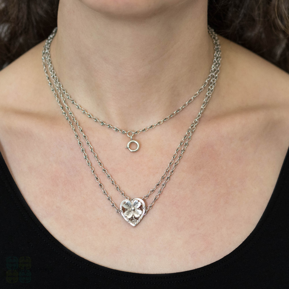 French Antique Openwork Silver Chain with Heart & 4 Leaf Clover Slider, Fancy Link Long Guard Necklace.