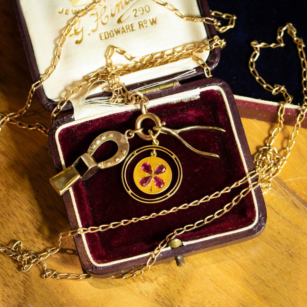 Vintage 9ct Gold Wishbone Pendant, Good Luck 9k Yellow Gold 1970s Hallmarked Charm.